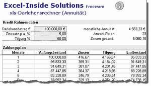 Zinsen Und Tilgung Berechnen : excel inside solutions darlehens und annuit tenrechner ~ Themetempest.com Abrechnung