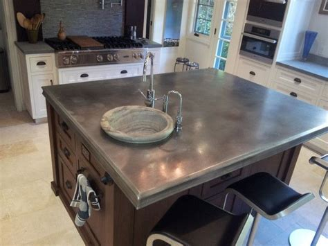 zinc countertop  kitchen island photo source www