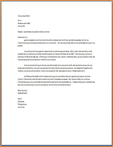 lettre cuisine 5 exemple lettre de motivation cuisinier format lettre