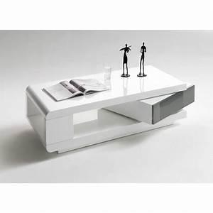Table Basse Blanche Et Grise : table basse blanc laqu 1 tiroir cbc meubles ~ Teatrodelosmanantiales.com Idées de Décoration