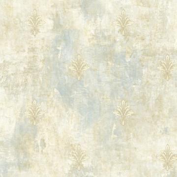 painted fleur de lis wallpaper sky blue  taupe
