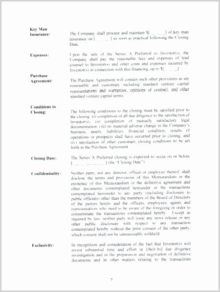 acquisition term sheet template printable luxury