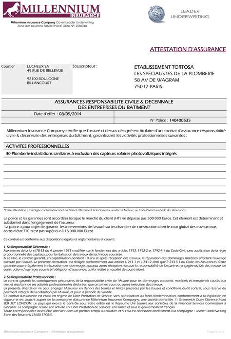modele attestation reparation fuite eau modele attestation plombier document