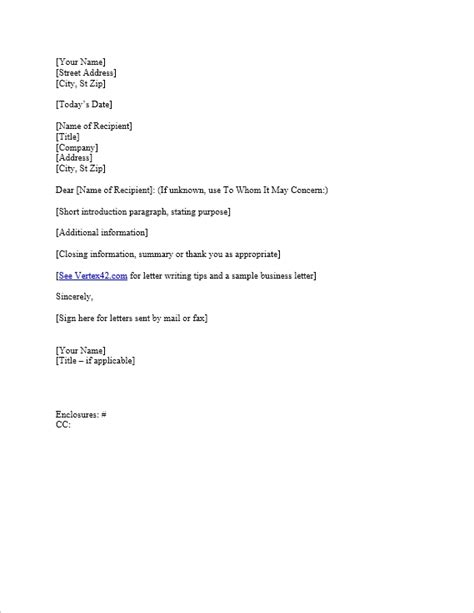 basic business letter format letters  sample letters