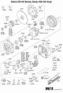 Early Cs144 Alternator Exploded View  Parts Breakdown