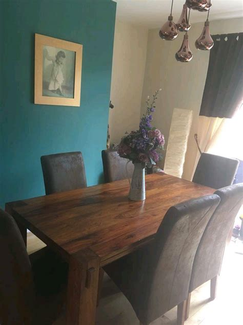 Kitchen Table And Chairs Gumtree Tyne And Wear by Harvey S Sheesham Wood Dining Table And 6 Chairs In