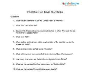 printable fun trivia questions  images fun trivia