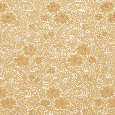 Brocade Upholstery Fabric by D121 Gold White And Paisley Floral Brocade Upholstery