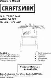 Craftsman 137218010 User Manual Table Saw Manuals And