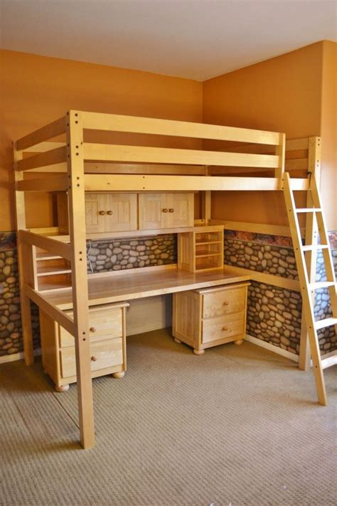 diy loft bed with desk children s student full sized loft bed and desk system