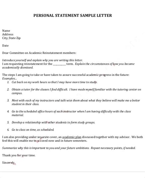 personal commitment statement exles cover letter 9 statement letter sles pdf word sle templates