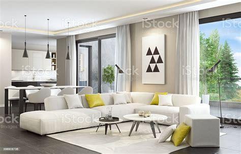 Fresh And Modern White Style Living Room Interior Stock