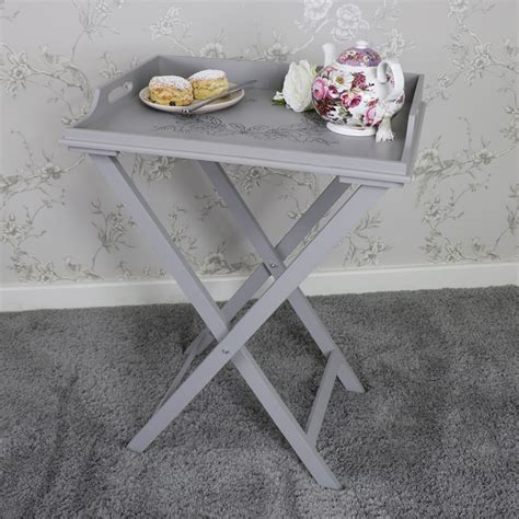 shabby chic tray table large grey wooden ornate butlers tray table folding stand shabby vintage chic ebay