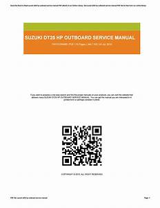 Suzuki Dt25 Hp Outboard Service Manual By Dwse76