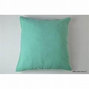 Housse Coussin 40x40 : housse pour coussin 40x40 polyester lin coloris turquoise ~ Teatrodelosmanantiales.com Idées de Décoration