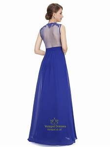 Royal Blue Lace Bodice Sleeveless Chiffon Prom Dress With ...