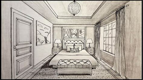 Drawing A Bedroom In One Point Perspective drawing a bedroom in one point perspective timelapse