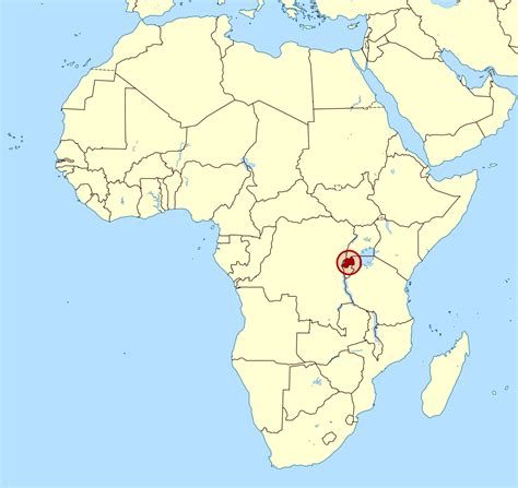 detailed location map  rwanda  africa rwanda
