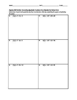 Algebra Skill Builder - Converting Quadratics from