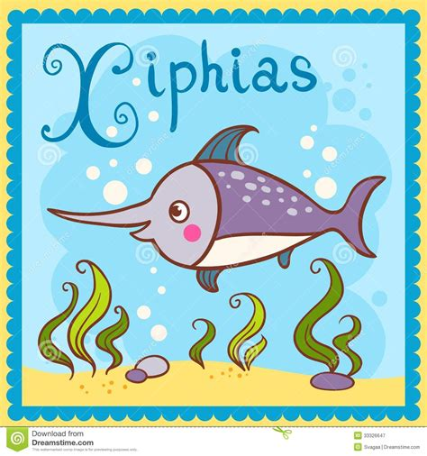 animals that start with the letter x illustrated alphabet letter x and xiphias royalty free
