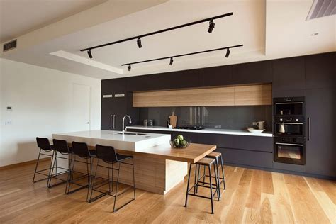 melbourne modern bar stool kitchen with timber island