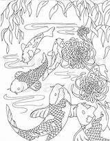 Koi Fish Coloring Drawing Pond Japanese Carp Water Printable Swim Books Orange Ocean Bear sketch template