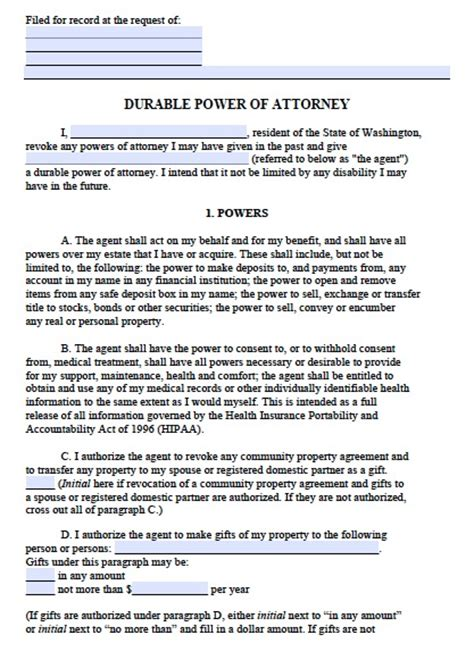washington durable power of attorney form wikidownload