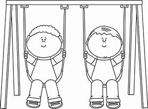 Black and White Kids on a Swing Clip Art - Black and White ...