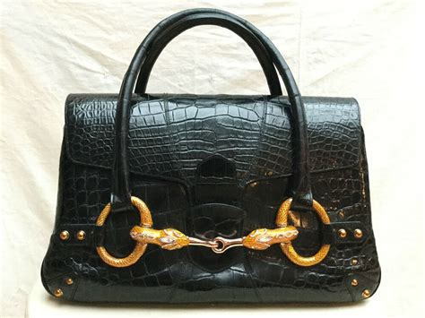 authentic gucci crocodile unique horse bit handbag vintage   ebay