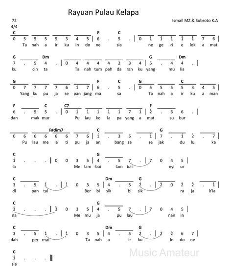 not pianika maju tak gentar not lagu rayuan pulau kelapa untuk pianika piano dan keyboard