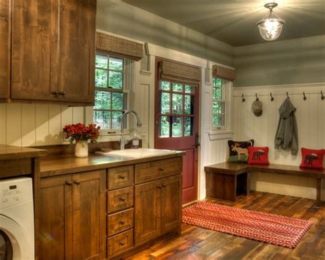 rustic cabinets for laundry room brick flooring and red painted cabinet for rustic laundry