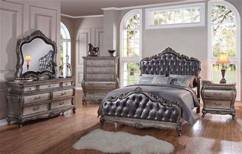 chantelle  piece bedroom set  antique silver finish