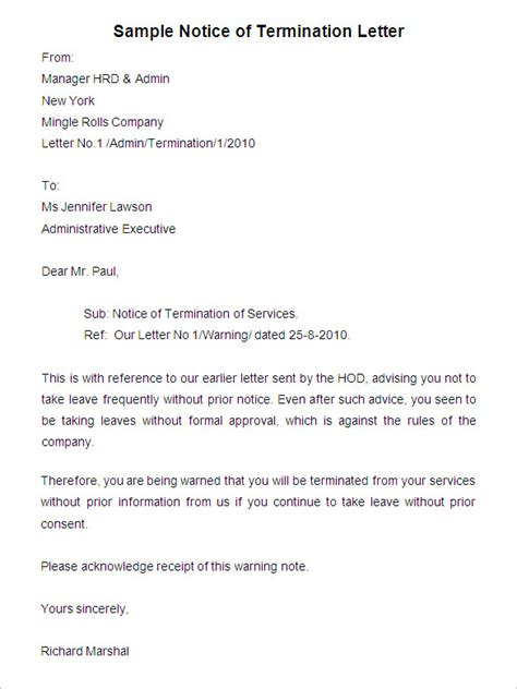 termination notice template free termination letter template 30 free sle exle format free premium