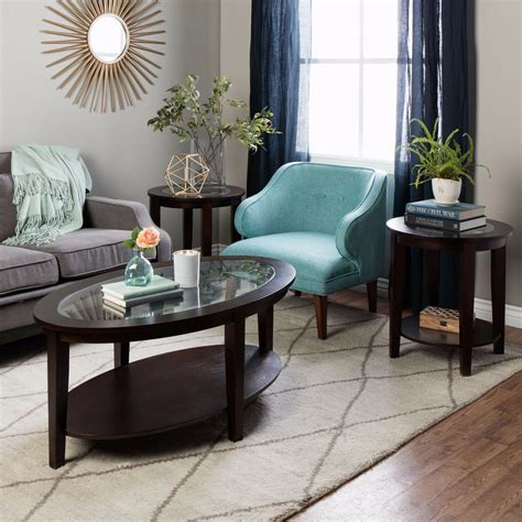 oval coffee table round side tables set wood glass