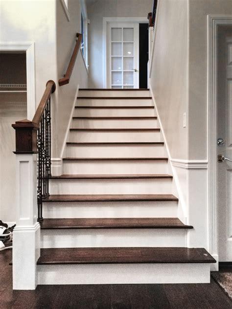 engineered wood stairs full staircase upgrade with new engineered hardwood floors lynnwood wa