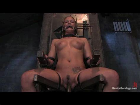 Solo girl in a bondage chair getting dildo fucked - BDSM Porn