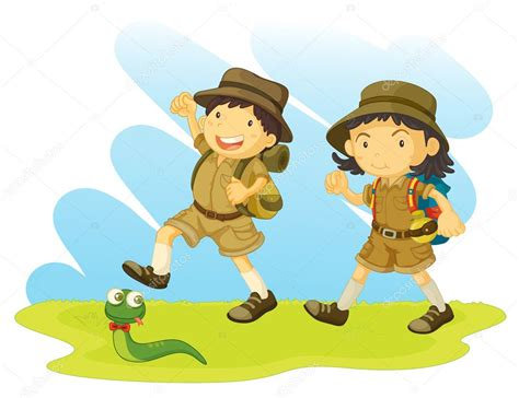 boy and girl scout — Stock Vector © interactimages #10274559