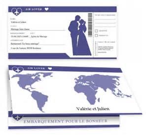 faire part mariage billet d avion faire part de mariage gratuit à imprimer a imprimer