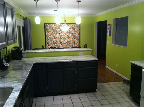 Lime Green Walls With Two Tones Gray And Black Cabinets