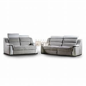 canape relaxation italien tetieres reglables bicolore lipari With canape cuir bicolore relax
