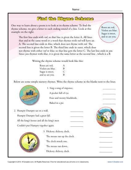 find the rhyme scheme poetry worksheets