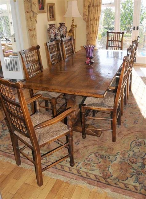 farm table dining set farmhouse kitchen refectory table spindleback chair set dining