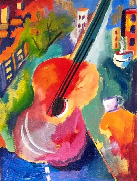 how to paint an abstract art guitar with vibrant colors