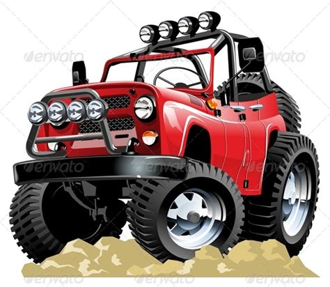 red jeep clipart vector cartoon jeep by mechanik graphicriver