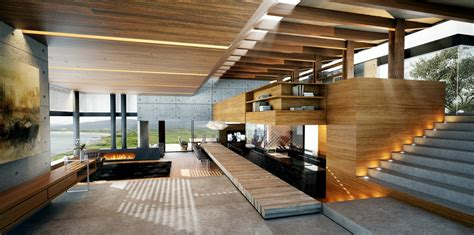 wood home interiors modern wood and concrete interior interior design ideas