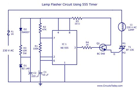 flasher circuit diagram using ne 555 ic for l