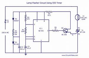 Flasher Circuit Diagram Using Ne 555 Ic For Lamp