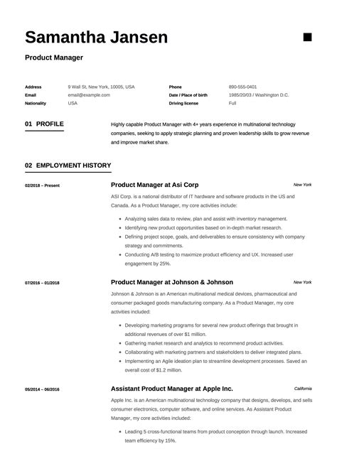 Formal Cv Template by Product Manager Resume Sle Template Exle Cv
