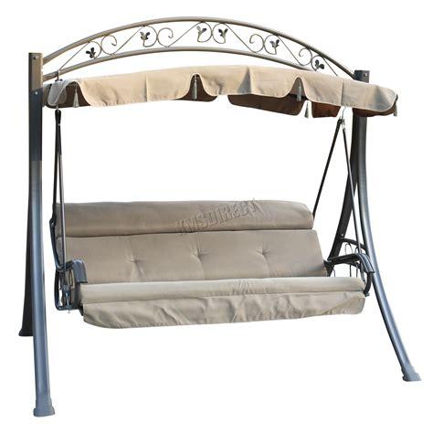 swing chair garden furniture foxhunter garden metal swing hammock 3 seater chair bench patio outdoor fhsc03 ebay