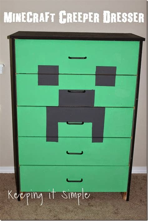 Minecraft Bedroom Drawers by Keeping It Simple Minecraft Creeper Dresser With Decoart